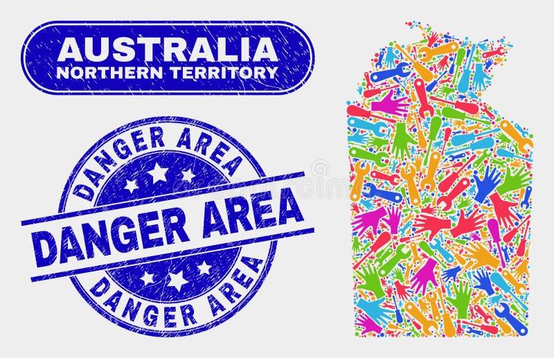 Carte australienne de territoire du nord de productivité et filigranes grunges de zone dangereuse illustration de vecteur