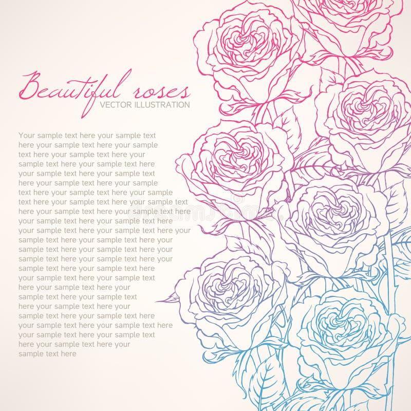 Carte avec de belles roses illustration de vecteur