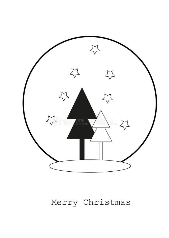 Carte avec des arbres de Noël, concept de Joyeux Noël illustration libre de droits