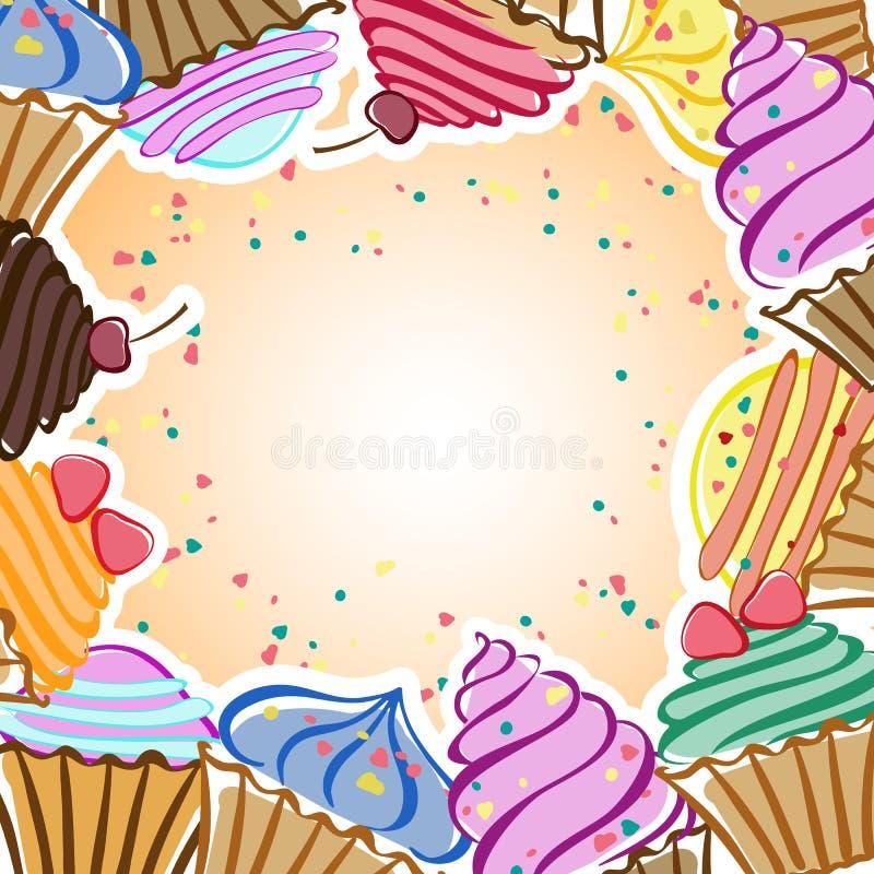 Carte avec des gâteaux illustration libre de droits