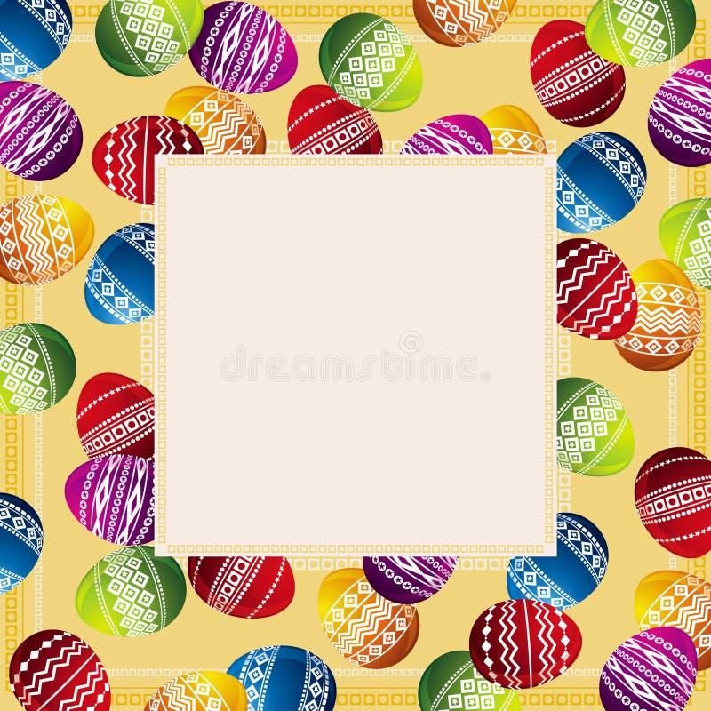 Carte avec des oeufs de pâques, vecteur illustration de vecteur