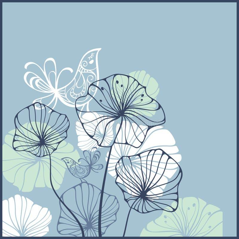 Carte avec des oiseaux et des fleurs illustration libre de droits