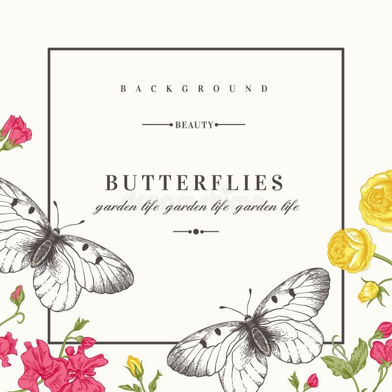 Carte Avec Des Papillons Et Des Fleurs Illustration de Vecteur - Illustration du carte, ligne ...