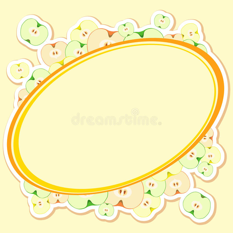 Carte avec des pommes, coupées en tranches dans la moitié avec la graine illustration de vecteur