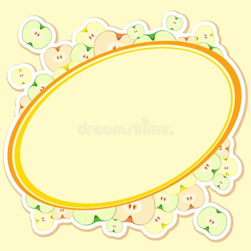 Carte avec des pommes, coupées en tranches dans la moitié avec la graine illustration stock