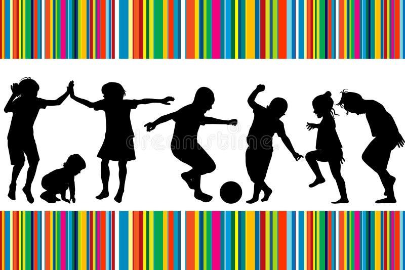 Carte avec des silhouettes de jouer d'enfants illustration de vecteur