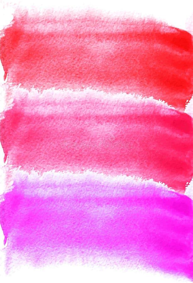 Carte avec des taches d'aquarelle Couleurs pourpres, roses, rouges Peinture pour votre conception Contexte texturisé lumineux abs photographie stock libre de droits