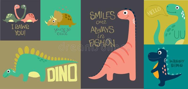 Carte avec Dino mignon illustration stock