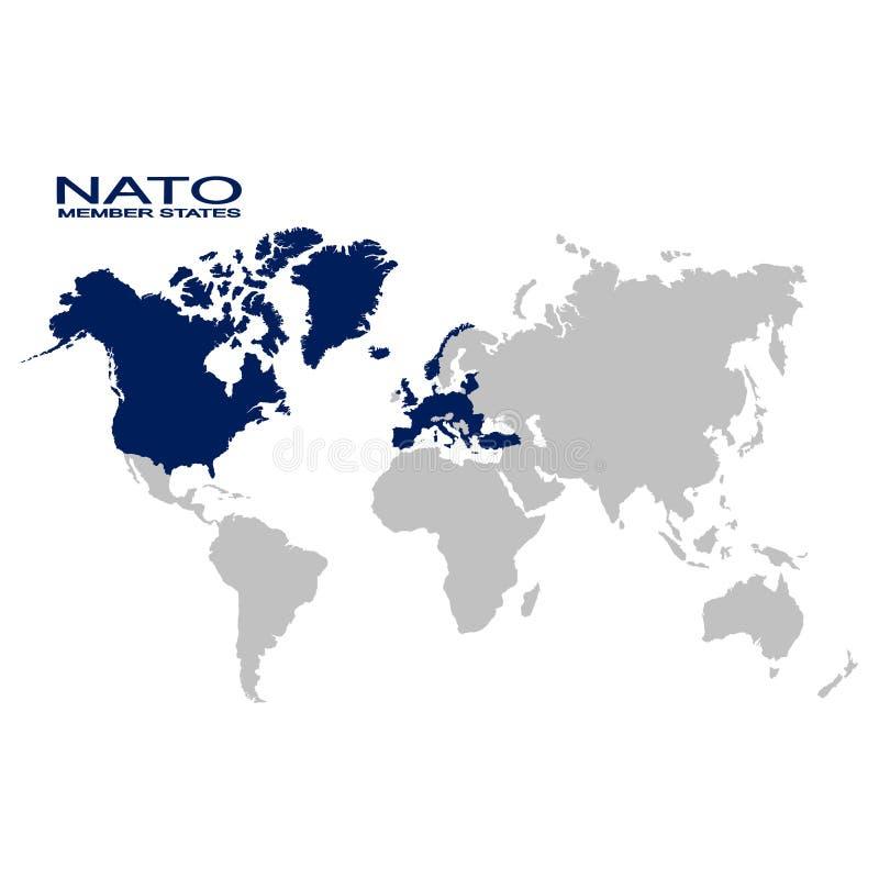 Carte avec l'Etat membre de l'OTAN illustration stock