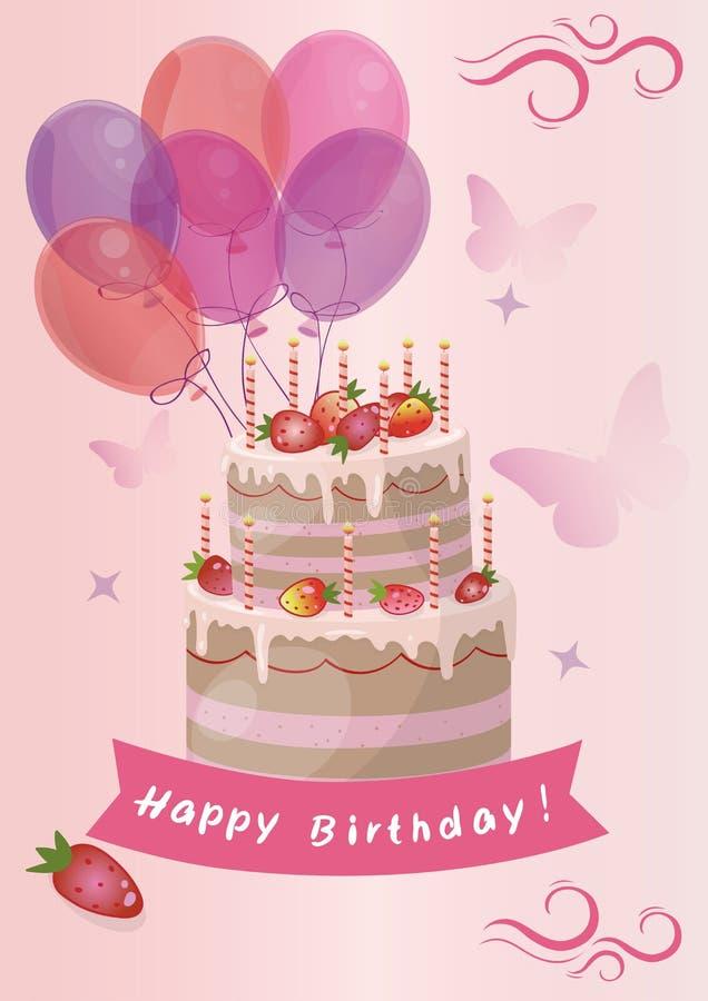 Carte avec l'image mignonne de vecteur de gâteau d'anniversaire de fraise illustration stock