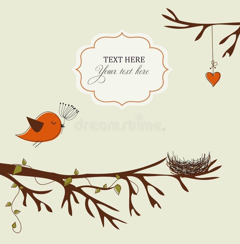 Carte avec l'oiseau et l'emboîtement illustration de vecteur