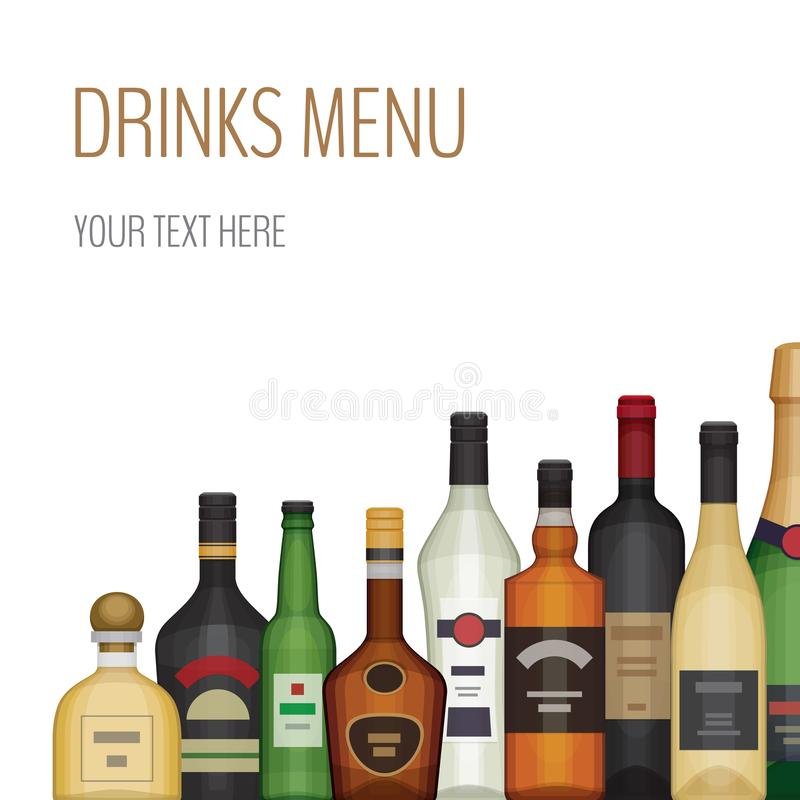Carte avec la bouteille différente d'alcool Boissons et boissons d'alcool illustration stock
