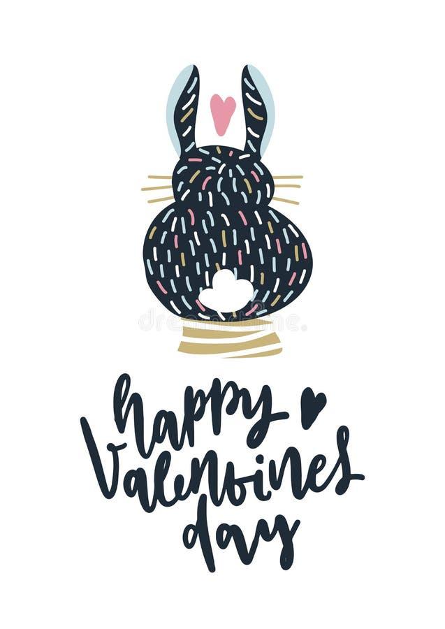 Carte avec la calligraphie marquant avec des lettres le jour de valentines heureux Illustration de vecteur illustration stock