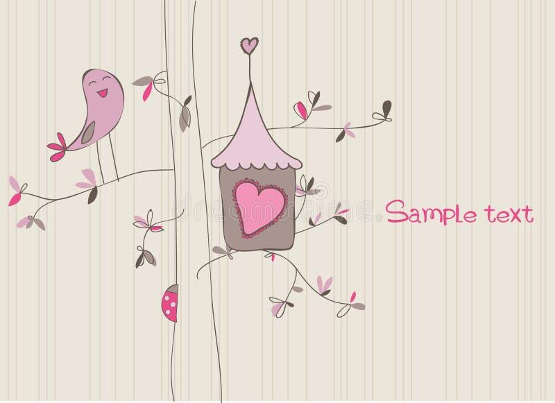 Carte avec la Chambre d'oiseau illustration stock