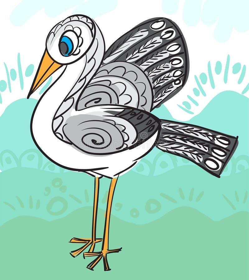Carte avec la cigogne décorative pour votre conception illustration de vecteur