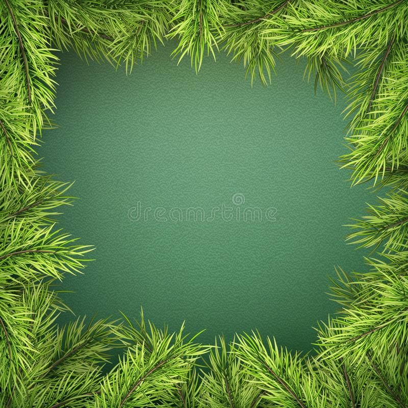 Carte avec la frontière d'arbre de Noël, cadre réaliste de branches de sapin sur le fond vert ENV 10 illustration de vecteur