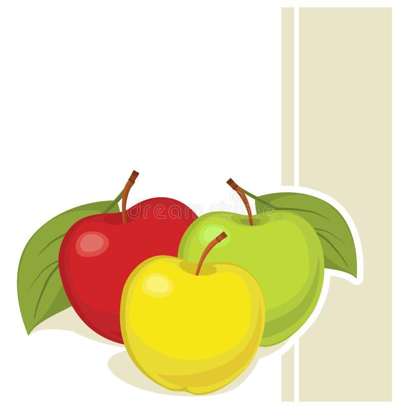 Carte avec la pomme illustration de vecteur