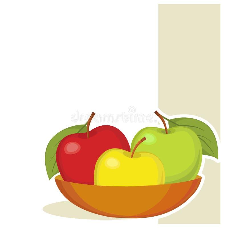 Carte avec la pomme illustration libre de droits
