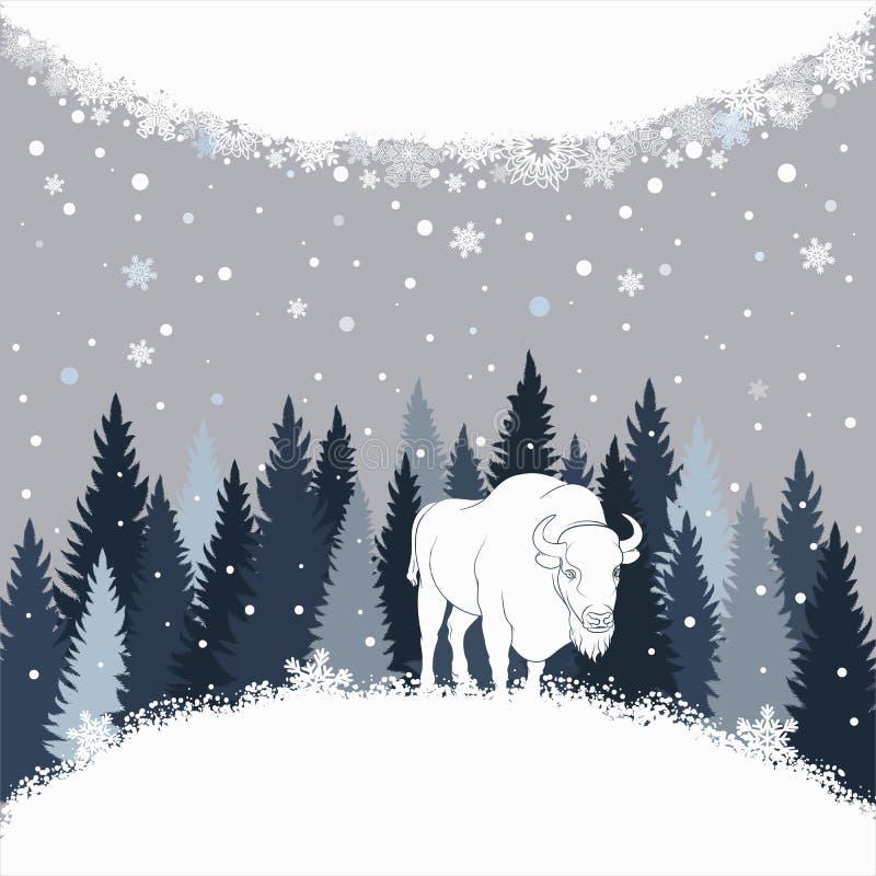 Carte avec le bison sur le fond et la neige de forêt Fond de vecteur de l'hiver illustration stock