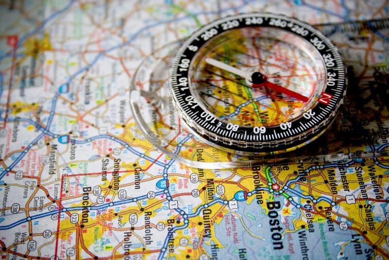 Carte avec le compas photographie stock