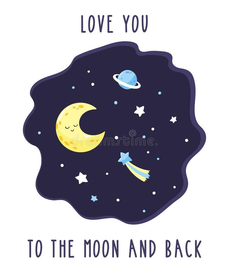 Carte avec le croissant mignon de bande dessinée dans le ciel étoilé de nuit Amour d'inscription vous à la lune et au dos illustration libre de droits