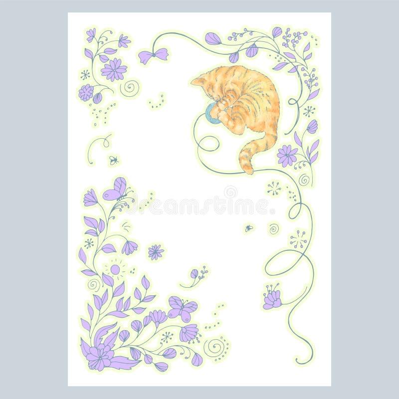 Carte avec le dessin mignon de main jouant des usines de chat et de lilas illustration libre de droits