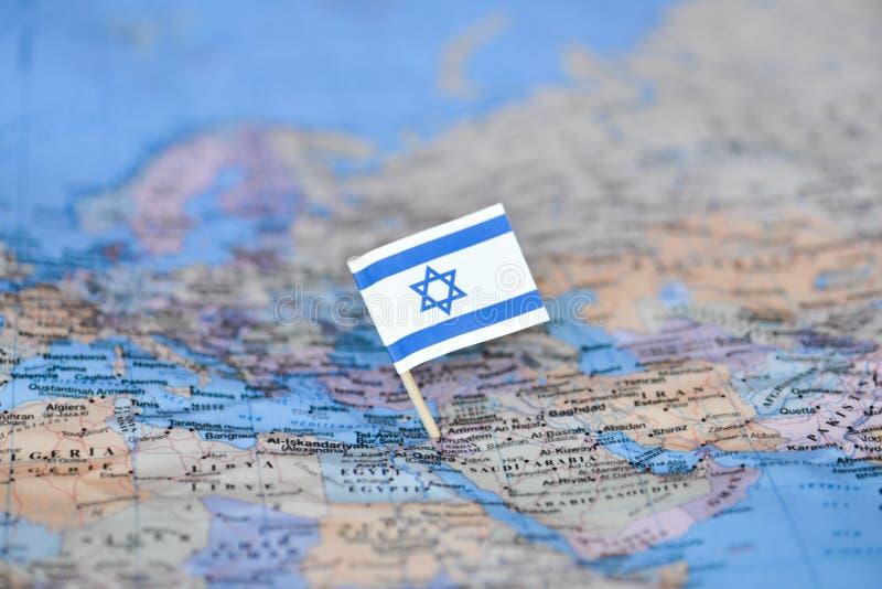 Carte avec le drapeau de l'Israël image stock