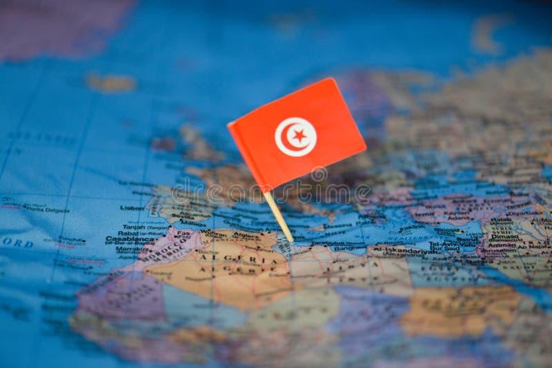 Carte avec le drapeau de la Tunisie images libres de droits