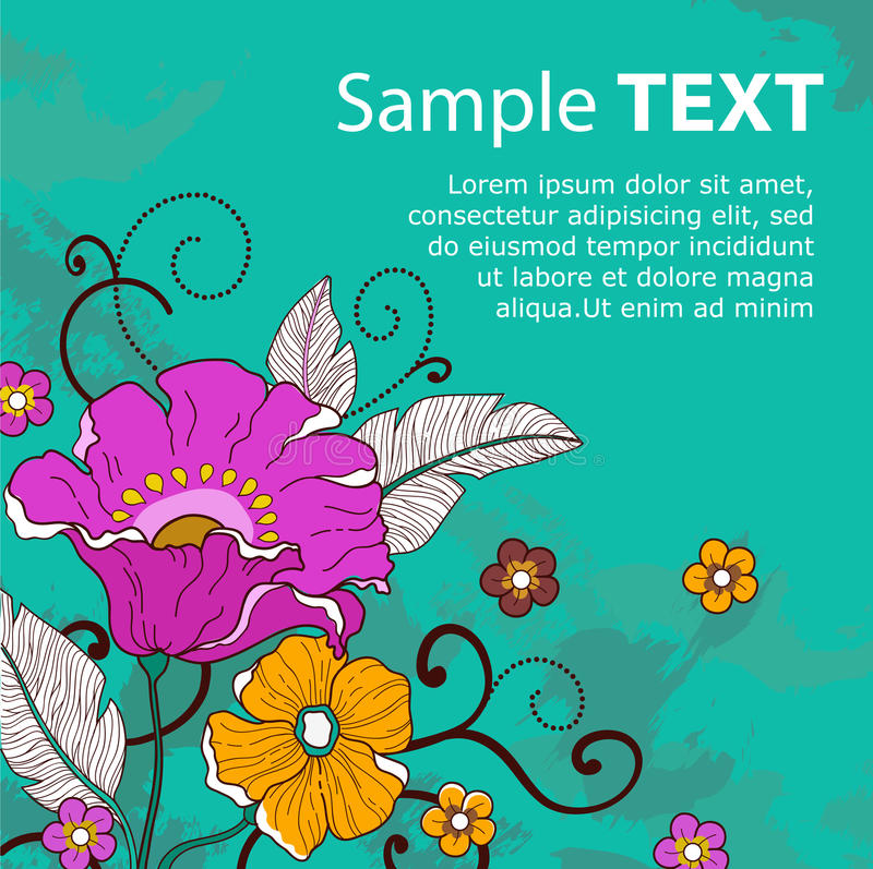Carte avec le flowers_grunge_ illustration stock