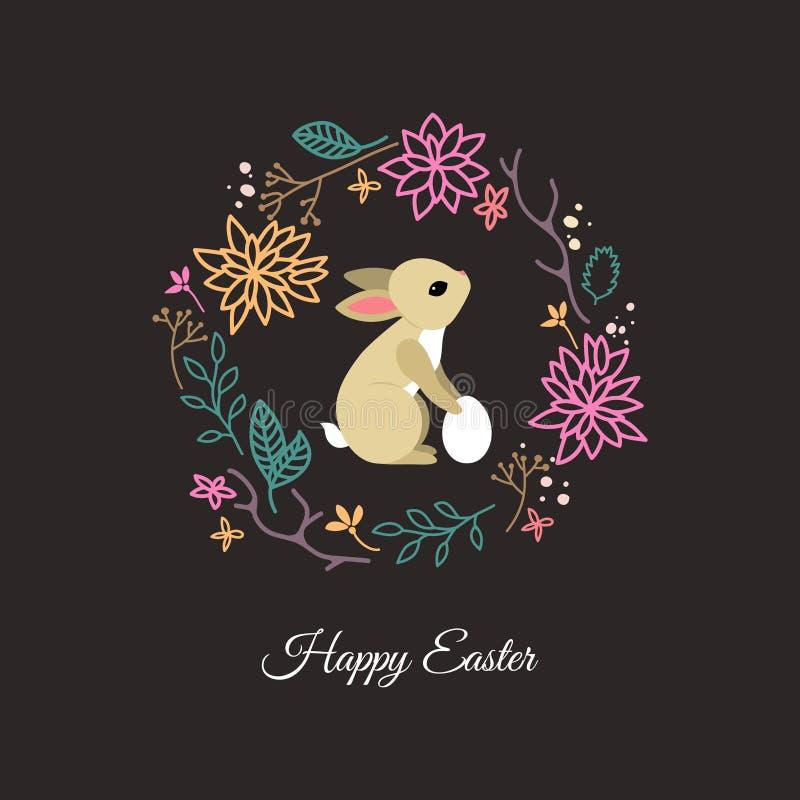 Carte avec le lapin mignon dans le cadre floral illustration stock