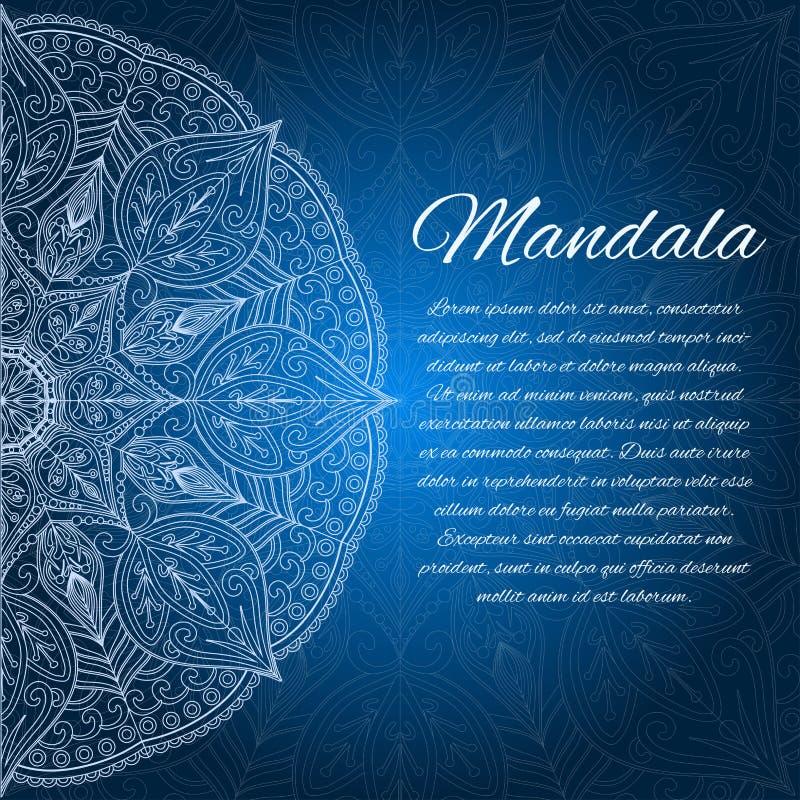 Carte avec le mandala de lueur Élément géométrique de cercle illustration stock