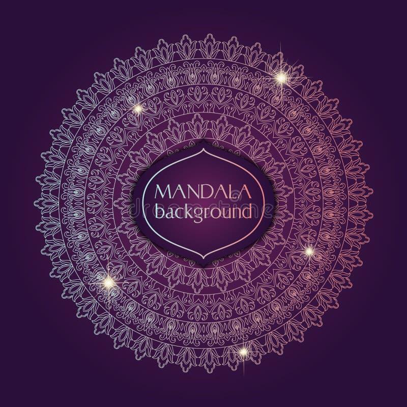 Carte avec le mandala de lueur Fond de vecteur Élément géométrique de cercle L'Islam, l'arabe, Indien, turc, Chinois, motifs de t illustration stock