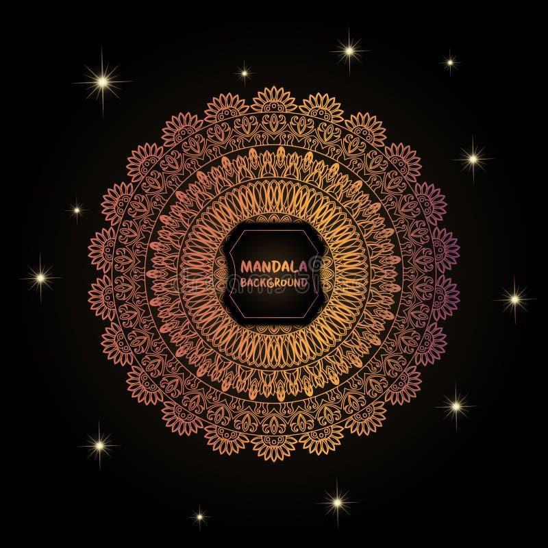 Carte avec le mandala de lueur Fond de vecteur Élément géométrique de cercle L'Islam, l'arabe, Indien, turc, Chinois, motifs de t illustration de vecteur