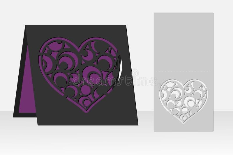 Carte avec le modèle géométrique de cercle de coeur pour la coupe de laser Conception de silhouette illustration libre de droits