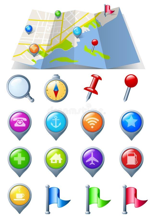 Carte avec le paquet de graphisme de navigation illustration de vecteur