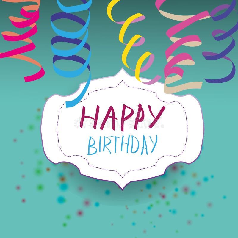 Carte avec le ruban et insigne avec le joyeux anniversaire illustration de vecteur