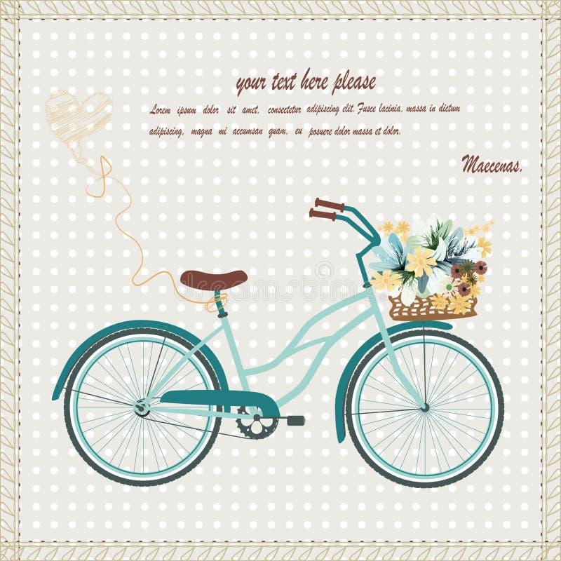 Carte avec le vélo photo libre de droits