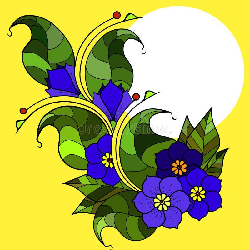 Carte avec les brindilles abstraites avec des fleurs Image de vecteur photos stock