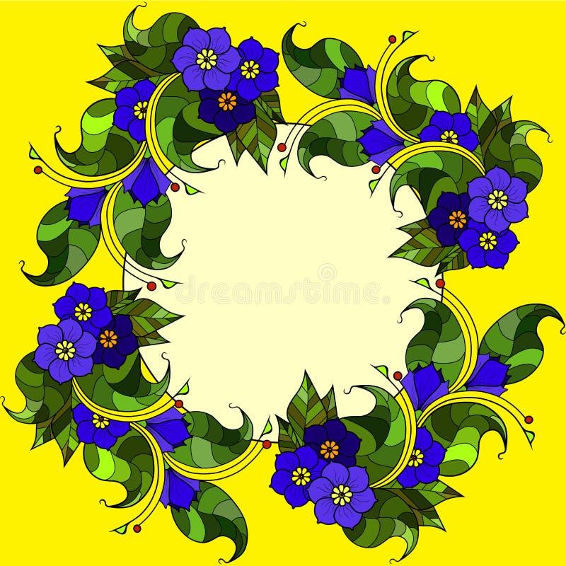 Carte avec les brindilles abstraites avec des fleurs Image de vecteur images libres de droits
