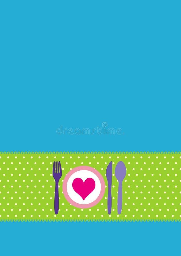 Carte avec les couverts et le dinnerplate illustration stock