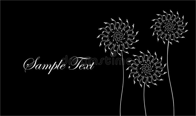 Carte avec les fleurs abstraites, pissenlits Carte de visite professionnelle de visite noire et blanche Illustration de vecteur illustration de vecteur