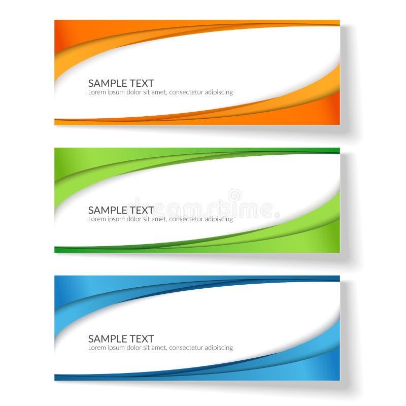 Carte avec les lignes onduleuses abstraites élément créatif vert bleu orange de rayures pour la conception de la publicité de car illustration de vecteur