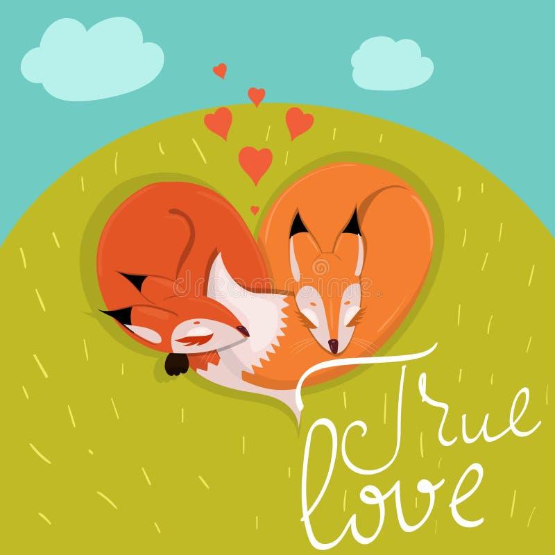 Carte avec les renards enamourés mignons dormant sur l'image de vecteur de pré illustration de vecteur