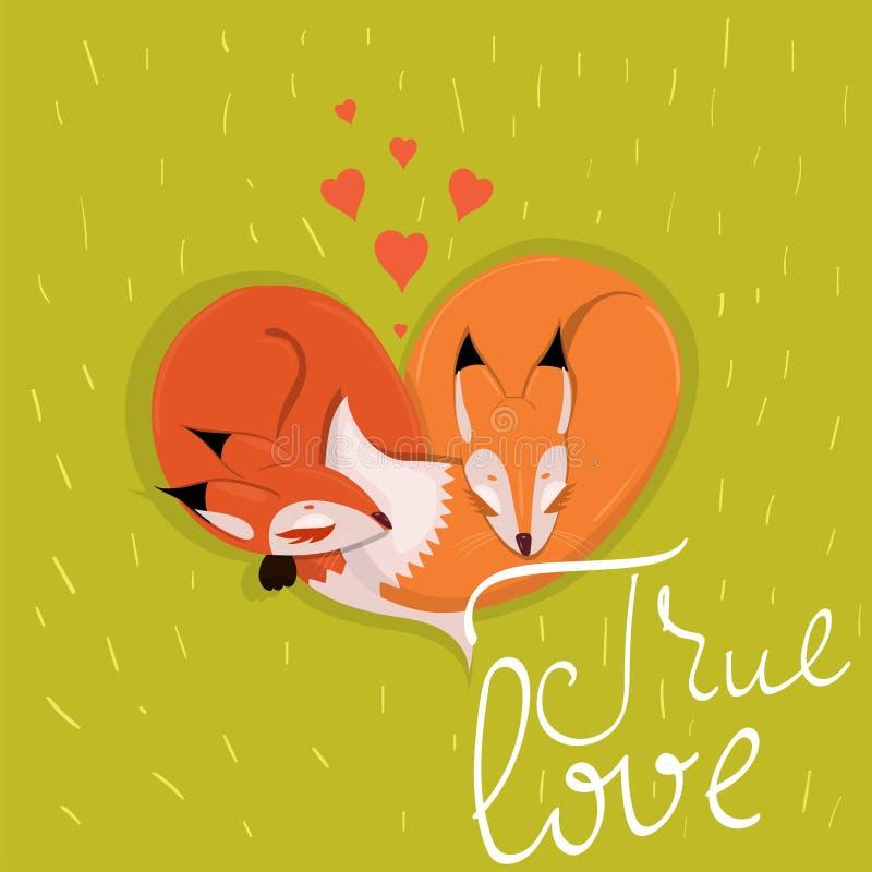 Carte avec les renards enamourés mignons dormant sur l'image de vecteur de pré illustration stock