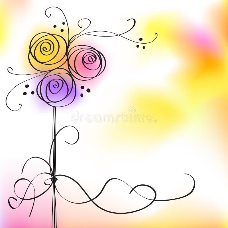 Carte avec les roses stylisées de vecteur illustration de vecteur