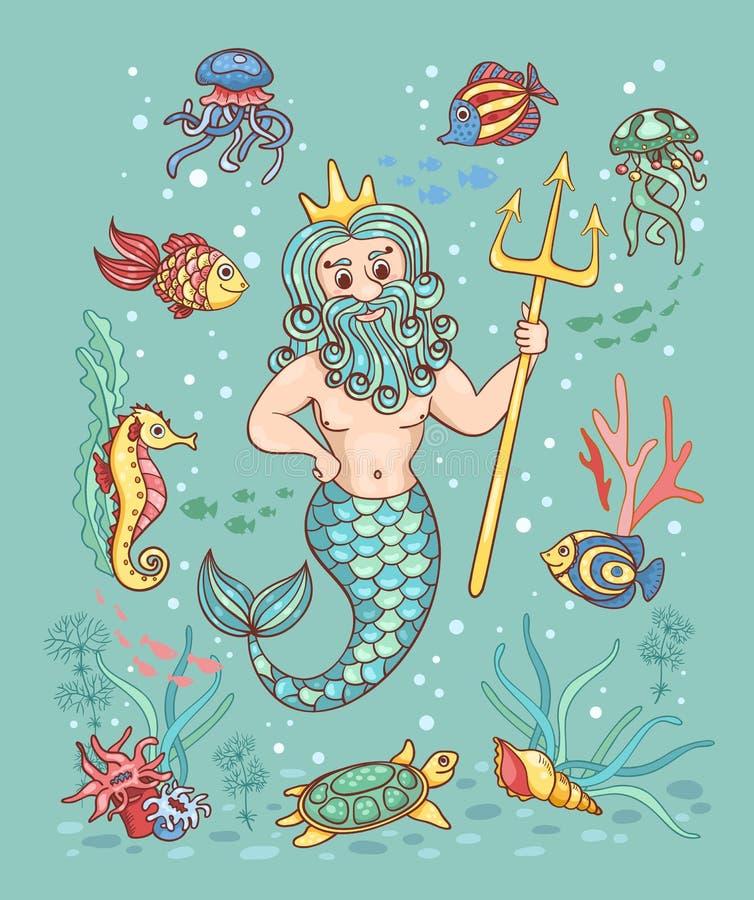 Carte avec Neptune illustration stock