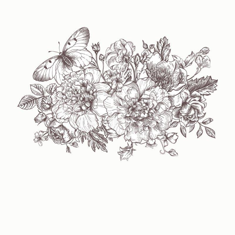 Carte avec un bouquet des fleurs et d'un papillon illustration stock