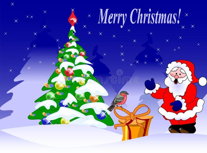 carte avec un bullfinch, un arbre de sapin et une Santa illustration stock