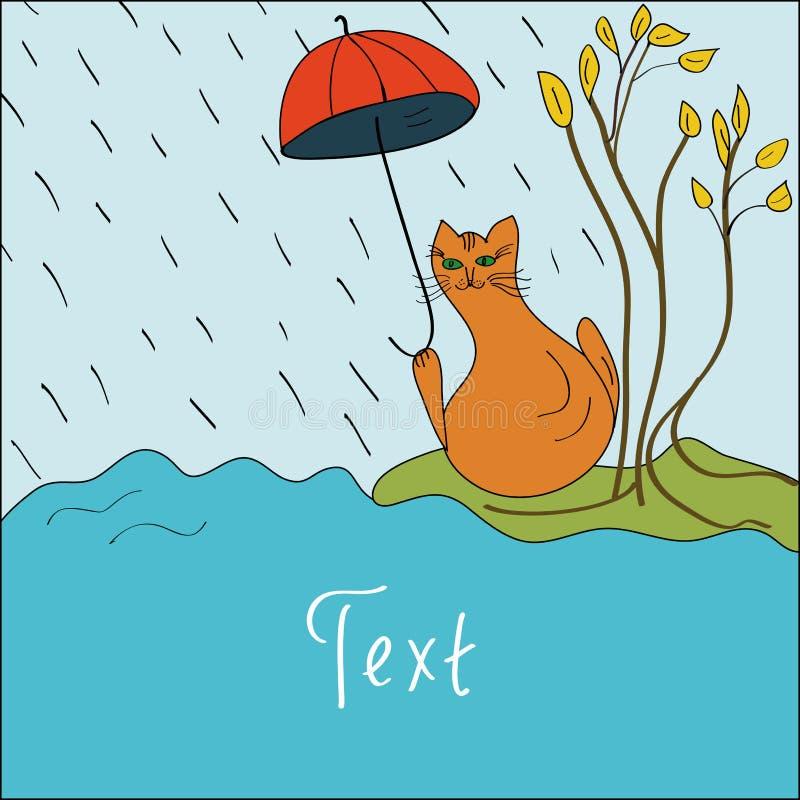 Carte avec un chat en automne illustration libre de droits