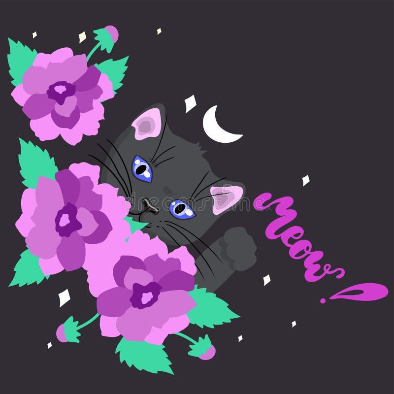 Carte avec un chat noir mignon parmi l'image de vecteur de fleurs illustration de vecteur